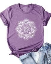 Langwyqu Women's Summer Casual Plain Graphic Print Short Sleeve T Shirt Tops