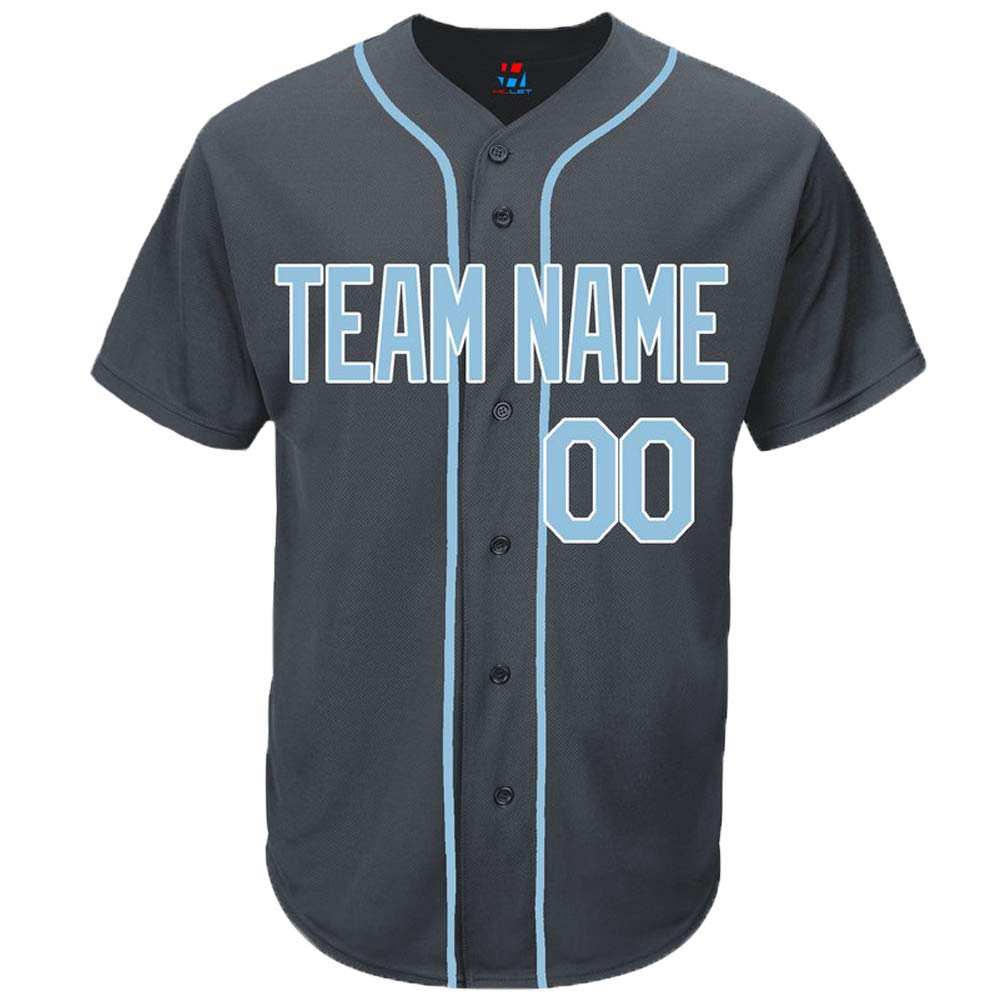Pullonsy Charcoal Custom Baseball Jersey for Men Women Youth Button Down Sewn Team Name & Numbers S-8XL - Design Your Own