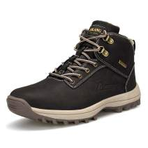 VANDIMI Mens Hiking Boots All Weather Outdoor Boots Waterproof Lace Up Non-Slip Boots