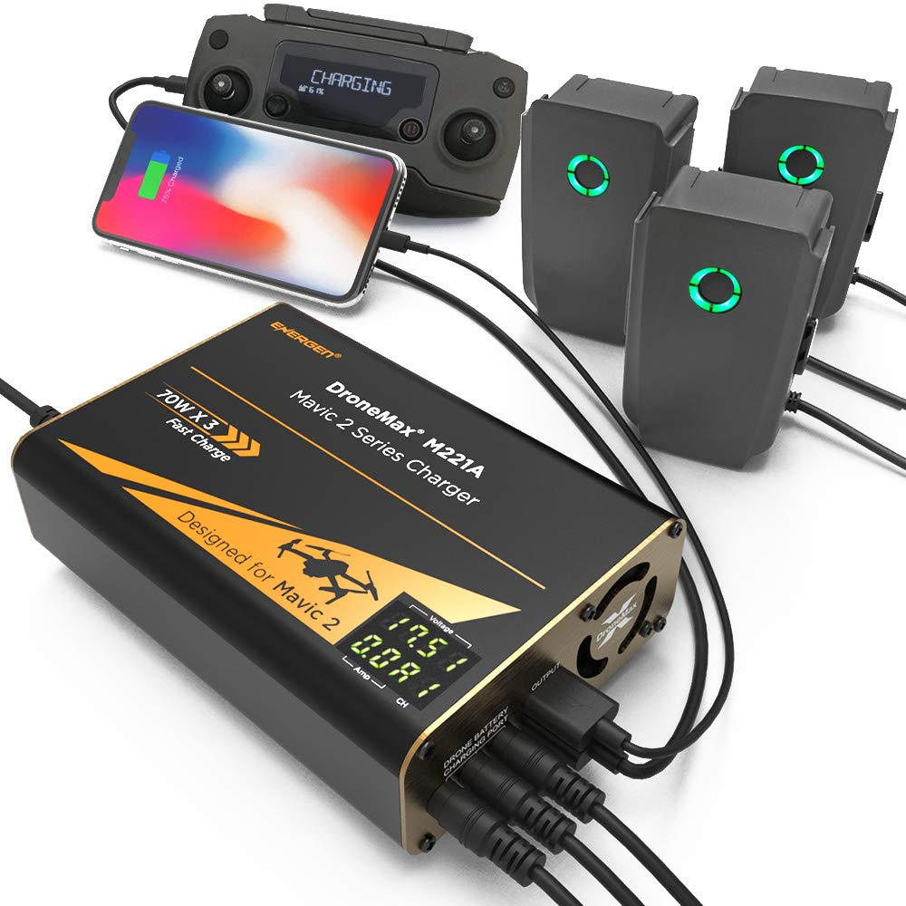 Energen DroneMax M221A Drone Battery Charger, DJI Mavic 2 Charger, Intelligent Fast Multi Battery Charging Hub Station (Charge 3 Batteries & 2 USB Ports Simultaneously)