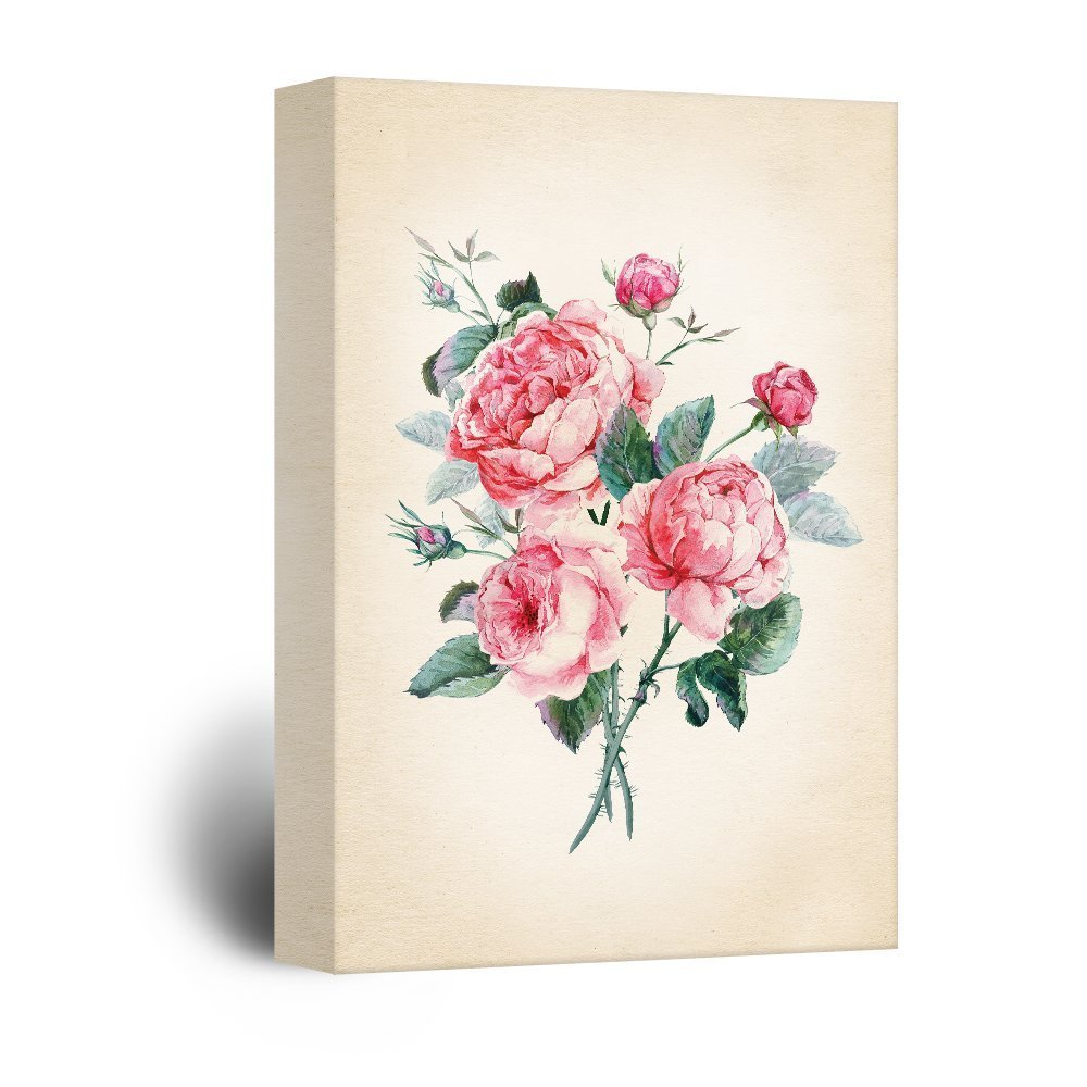 wall26 Canvas Wall Art - Watercolor Style Roses Petals - Giclee Print Gallery Wrap Modern Home Decor Ready to Hang - 16x24 inches