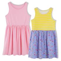 UNACOO Kids 2-Pack Sleeveless Casual Summer Dress for Girls (Age 3-12 Years)