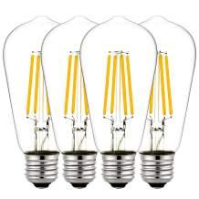 LiteHistory st58 led edison bulb dimmable 8W equal 60W 75W ST64 Vintage light bulb 850lm ac120v filament bulbs medium e26 edison bulb for bathroom,ceiling,vanity and pendant light bulbs teardrop 4Pack
