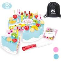 HenMerry 38 PCS DIY Cutting Birthday Party Cake Toy Pretend Play Kitchen Food Toys Set,DIY Fruit Cutting Kitchen Toys Pink/Blue Cut Cake Toys for Girls Boys Gift (38PCS Blue)