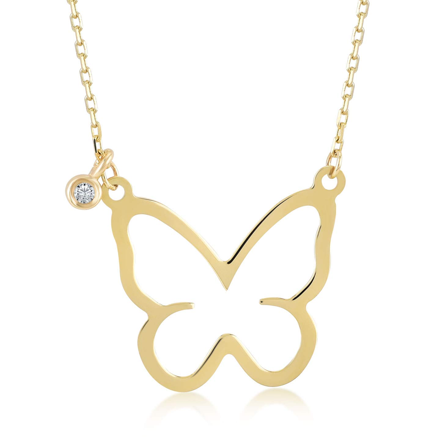14k Yellow Gold 0,01 ct Diamond Butterfly Pendant Necklace for Women, A Perfect Surprise Gift for Her, 18 inch