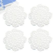 kilofly Small Handmade Crochet Round Cotton Lace Table Placemats Doilies for Cup/Glass Value Pack [Set of 4], Medallion, 5 inch, White