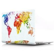 "HRH Watercolor World Map Laptop Body Shell Protective PC Hard Case for MacBook 15.4"" with Retina Display (Model A1398)(Release 2012-2015)"