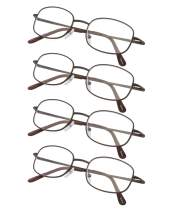 4-Pack Metal Frame Reading Glasses with Spring Hinged Arms Brown +0.75