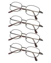 4-Pack Metal Frame Reading Glasses with Spring Hinged Arms