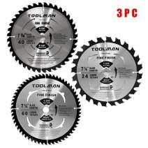 "Toolman Premium Multifunctional Carbide-Tipped Circular Saw Blade Universal Fit 7-1/4"" 5/8"" 60T Table Miter Cutting For Wood Chipboard works with DeWalt Makita Ryobi S020305"