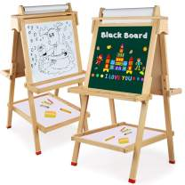Wooden Art Easel Children Easel with Magnetic Chalkboard Kids Black/White Board Easel with Roll of Paper not Included Numbers Other Accessories for Kids,Toddlers