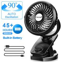 CAVN Stroller Fan Clip on, Max 45 Hours Oscillating Fan, 5000mAh Rechargeable Battery Portable Personal Small Fan for Baby Stroller Crib Bedroom Car Office Outdoor