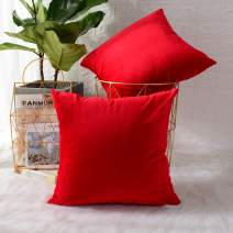 MERNETTE New Year/Christmas Decorations Velvet Soft Decorative Square Throw Pillow Cover Cushion Covers Pillowcase, Home Decor for Party/Xmas 18x18 Inch/45x45 cm, Red, Set of 2