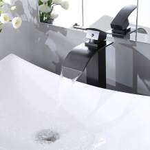 Aquaterior Modern Waterfall Single Handle Bathroom Vessel Sink Faucet One Hole Tall Bath Faucet Oil Rubbed Bronze(CUPC)