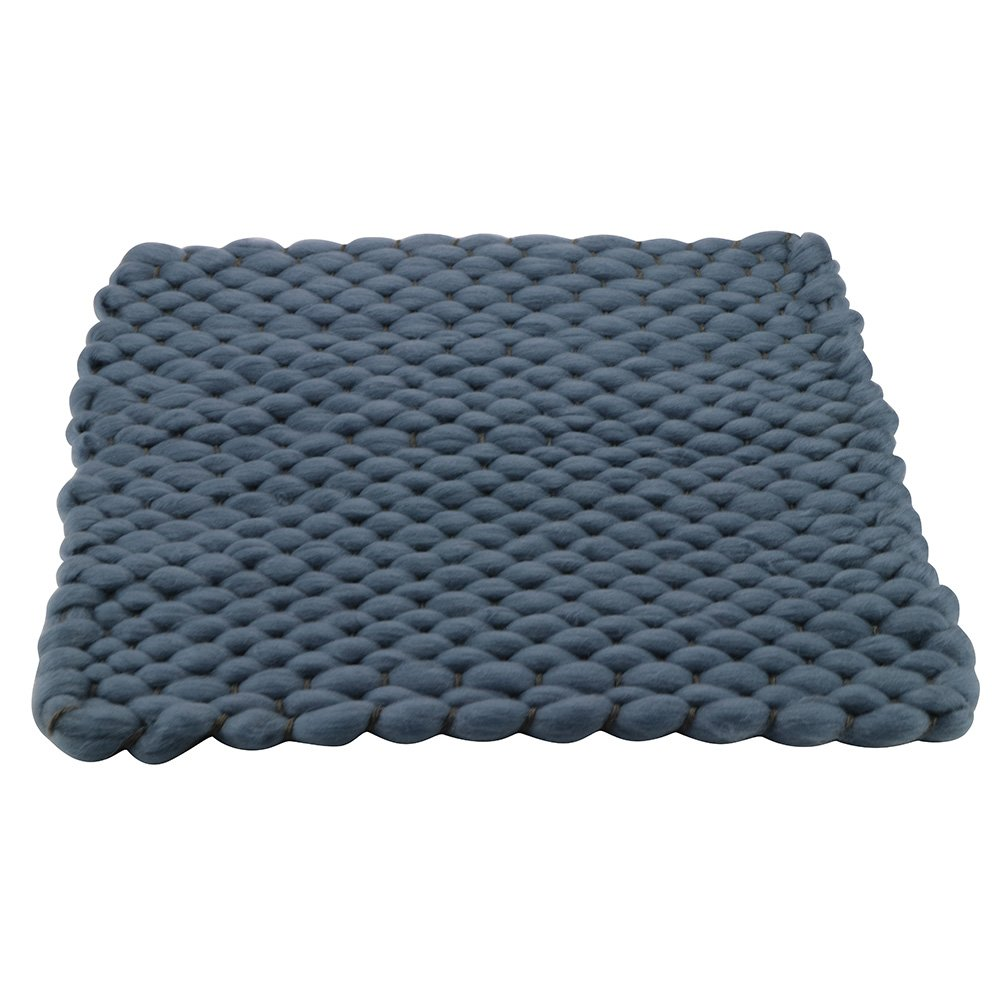 D&J Handcraft Newborn Photography Props Knit Blanket Baby Photo Basket Props Stuffer Filler Mat, Acrylic Soft 17.715.7inch Blue