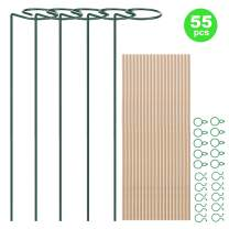 Plant Stakes 55 PCS Garden Flower Support Stake Bamboo Stake Plant Support Clips Gentle Plant & Flower Clamps for Tomatoes Lily Amaryllis Orchid Peony Rose Flower Stem - 40cm/ 15.7 inch