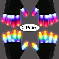 2 Pairs LED Gloves Light Up Gloves Flashing Finger Gloves for Kids Teens Glow In The Dark Neon Rave Party Supplies Holiday Toy Gift Birthday Christmas Family Costume Xmas Party Favors Light Up Toys