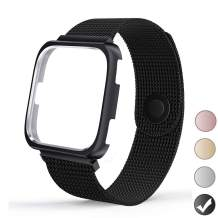 REYUIK Compatible with Versa Bands with Frame,Stainless Steel Mesh Breathable Metal Wristband with Protective Case Bumper Accessories for Women Men