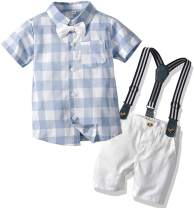 SANGTREE Baby Boys Clothes, Dress Shirt with Bowtie + Suspender Shorts