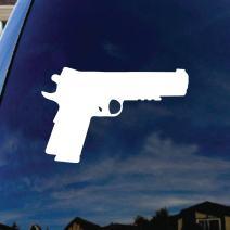 """SoCoolDesign Firearm Pistol Pro Gun Oval Car Window Vinyl Decal Sticker 5"""" Wide (White)"""
