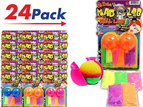 JA-RU Make a Bouncy Ball - Create Your Own Crystal Super Balls Craft Kit for Kids (24 Units) Mad Lab DIY Power Crystal Balls. Great Party Favors Pack in Bulk Toys. 5431-24A