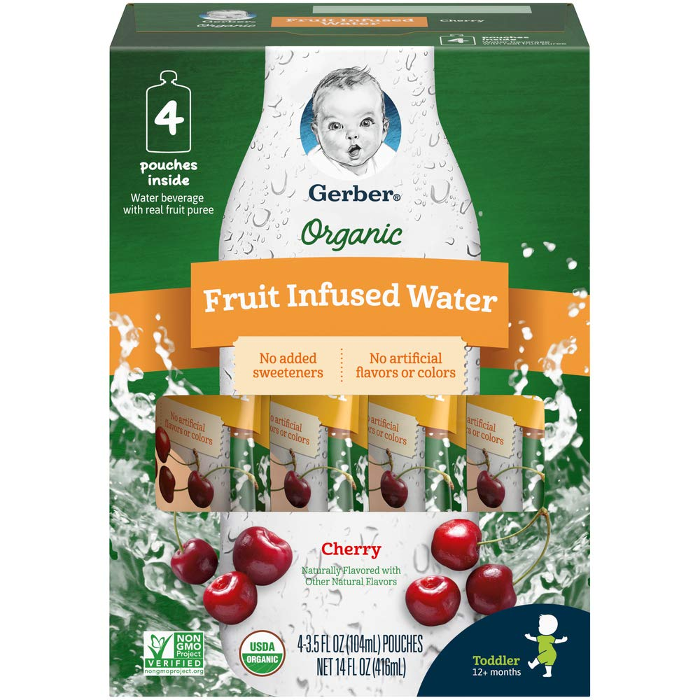 Gerber Purees Organic Fruit Infused Water, Cherry Pouches, 3.5 Ounces 16 Count (Pack of 1)