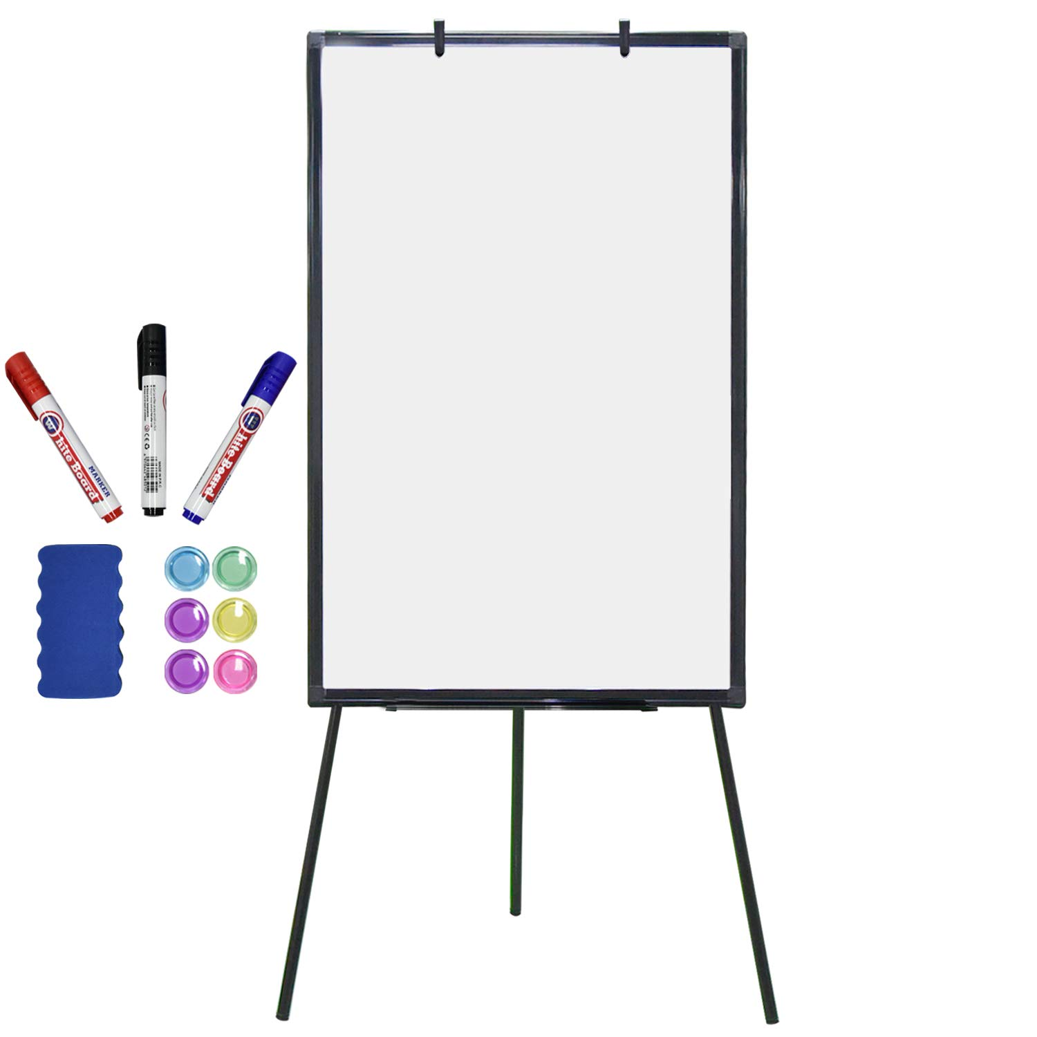 Magnetic Dry Erase Board with Stand 36 x 24 inch Easel White Boards for Kids Classroom Office Portable Height Adjustable with Flipchart Hook, Black