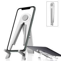"""Cell Phone Stand, LeYi Adjustable Phone Stand for Desk, Fully Foldable Zinc Alloy Stand Holder Dock Anti-Scratch Compatible for Switch, iPhone 11 Pro Xs Max XR, iPad Mini, All Phones (4-7.9""""), Silver"""