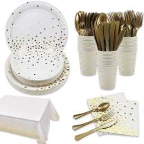 White and Gold Party Supplies Disposable Paper Dinnerware Set Serves 24 - Gold Dot Paper Plates Napkins Cups with Gold Plastic Silverware Sets for Wedding Birthday Holiday Parties
