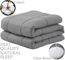 "LBRO2M Weighted Blanket Cooling for Adults and Kids(15 lbs,48""x72""),100% Natural Cotton Bed Heavy Blanket with Premium Safe Glass Beads,Enjoy Deep Sleep Like A Baby (Grey)"