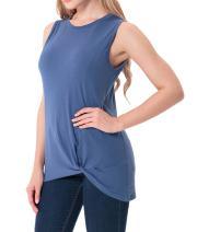 Afibi Womens Sleeveless Tops Plain Ruched Casual T-Shirts Basic Tank Tops