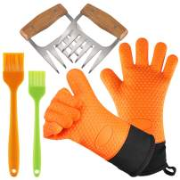 YUWLDD BBQ Gloves Plus Meat Shredder Claws and Silicone Brush- Grill Accessories/Smoker Accessories (Gloves+Claws) (Gloves+Claws+Brush)