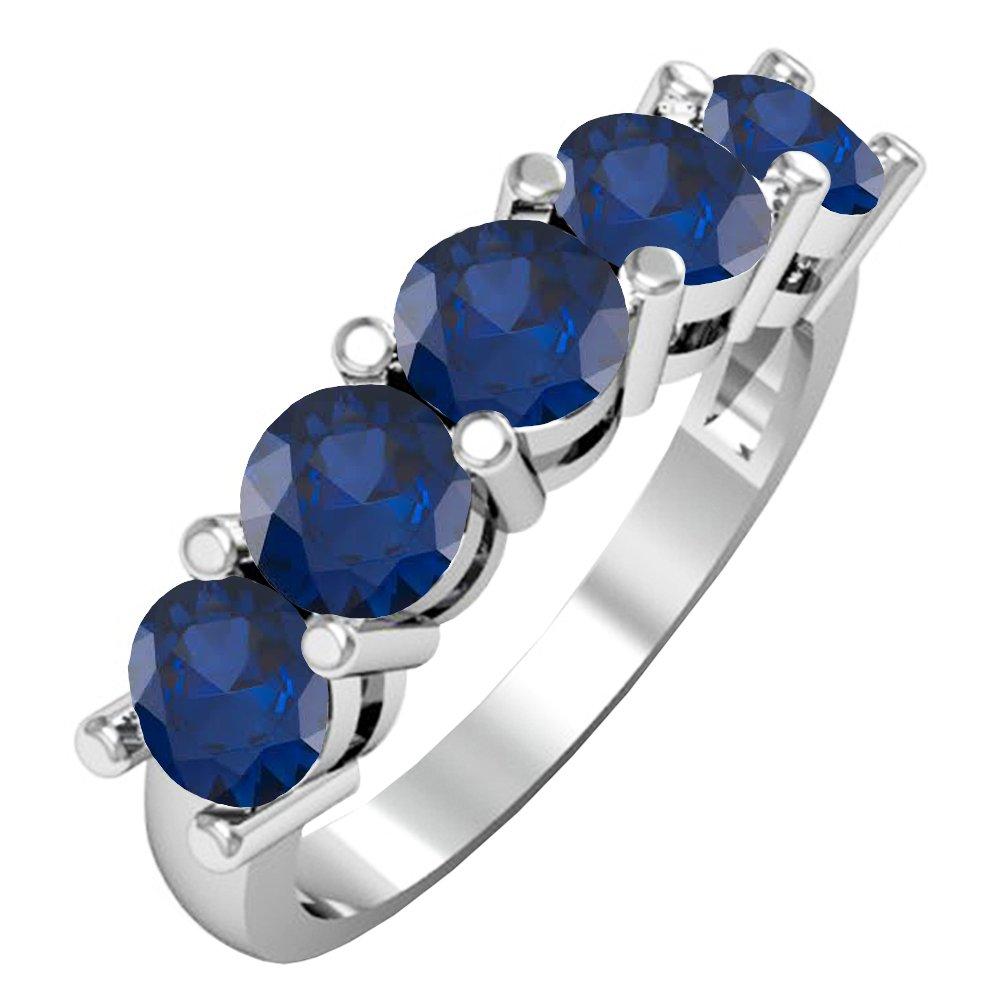 Dazzlingrock Collection 14K Round 4.5 MM Each Gemstone Ladies 5 Stone Bridal Wedding Anniversary Ring, White Gold