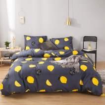 MOVE OVER Yellow Lemon Bedding Fruit Duvet Cover Set Yellow Fresh Lemons Printed Design Blue Yellow Kids Teens Bedding Sets Twin 1 Duvet Cover 1 Pillowcase (Twin, Lemon)