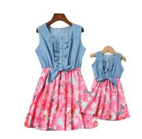 Mommy and Me Denim Floral Print Sleeveless Skirt Dresses Mother Daughter Dress Outfits