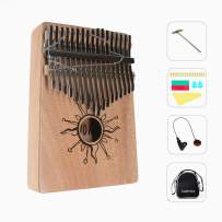 AOVOA Thumb Piano, 17 key Kalimba, Finger Piano Mbira, Mahogany Body Kalimba with Tuning Hammer, Pickup, Finger Guards, Carry Bag and Key stickers, Ideal Gift for Music Fans