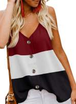 ROSKIKI Women's Button Down V Neck Strappy Tank Color-Block Tops Loose Casual Sleeveless Shirts Blouses