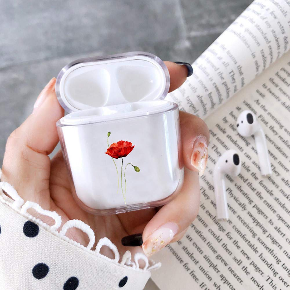 fuinhi Clear Hard Plastic Case Full Protective Cover Skin Compatible with AirPods 2 & 1 (Poppy)