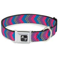 Buckle-Down Dog Collar Seatbelt Buckle Chevron Weave Gray Lavender Pink Baby Blue Available In Adjustable Sizes For Small Medium Large Dogs