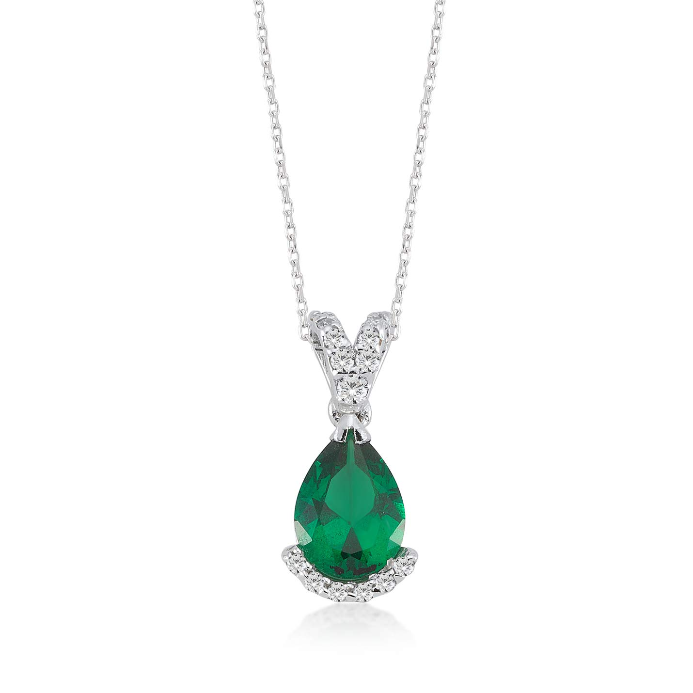 """Gelin 14k White Gold 0,09 ct Real Diamond Pendant Necklace for Women, 18"""""""