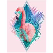 HuaCan Diamond Painting Flamingo Crystal Rhinestone Pictures Full Square Drill Photos Arts Craft DIY 5D Paint by Number Kits Canvas Home Wall Decor for Kids Adults 30x40cm/11.8x15.7in