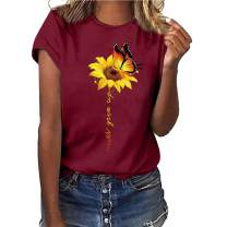 LaSuiveur Women's Short Sleeve Sunflower Crewneck T-Shirt Tops Tees