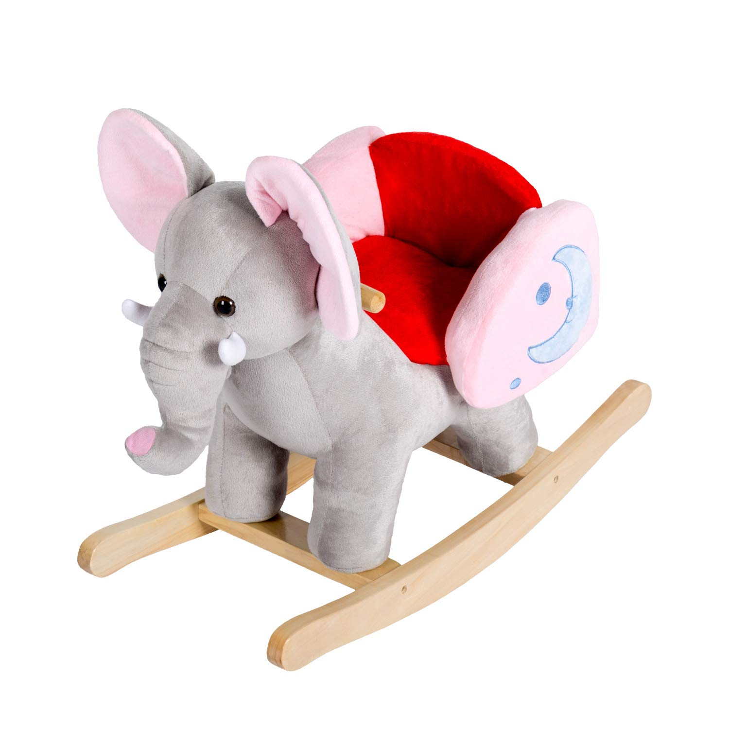 Kinbor Rocking Horse Plush Baby Kids Stuffed Animal Rocker Toy Wooden Rocking Horse Elephant Rocker Children S Day Birthday Gift W 32 Nursery Rhymes