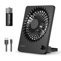 EasyAcc Desk Fan,Rechargeable Personal Battery Fan Portable Mini USB Fan 160° Vertical Rotation Stepless Speed Regulation Table Fan Quiet 2600mAh Battery Powered Fan for Camping Office Outdoor - Black
