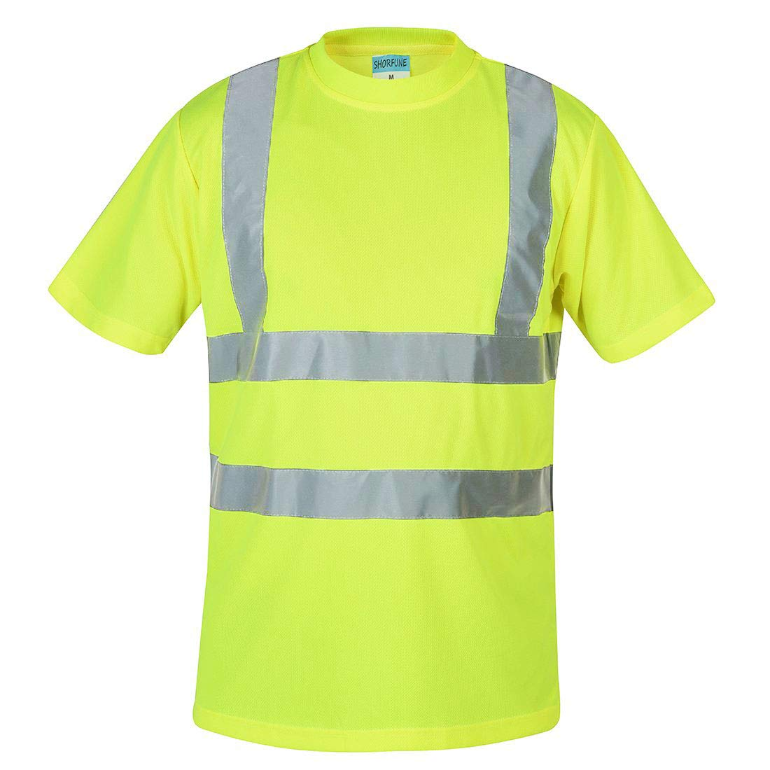 SHORFUNE High Visibility T-Shirt with Short Sleeve, Reflective Strips, Yellow, ANSI/ISEA Standards, XL