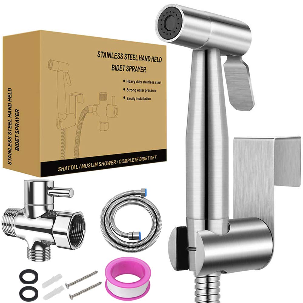 Handheld Bidet Toilet Sprayer SROSS Handheld Bidet Sprayer for Toilet with Adjustable Pressure Control for Feminine Wash, Baby Diaper Cloth and Shower Sprayer for Pets Shower, Wall or Toilet Mount