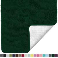 Gorilla Grip Original Luxury Chenille Bathroom Rug Mat, 30x20, Extra Soft and Absorbent Shaggy Rugs, Machine Wash Dry, Perfect Plush Carpet Mats for Tub, Shower, and Bath Room, Deep Green