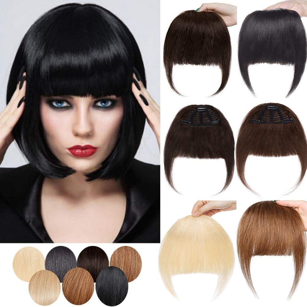SEGO Clip in Bangs Real human hair Extensions Full Front Neat Fringe One Piece Bangs Hairpiece Hand Tied Straight Flat Bangs with Temples for Women #18P613Ash Blonde&Bleach Blonde 3 Clips 25g