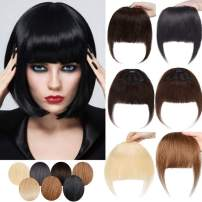 SEGO Clip in Bangs Real human hair Extensions Full Front Neat Fringe One Piece Bangs Hairpiece Hand Tied Straight Flat Bangs with Temples for Women Daily Wear #4Medium Brown 3 Clips 25g