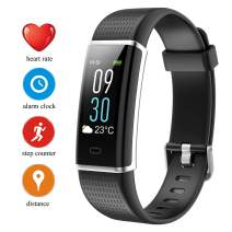 Fitness Tracker HR with Color Display IP68 Waterproof with USB Rechargeable Battery Step Counter Pedometer Activity Tracker Smart Watch for Women Men Kids (Black)